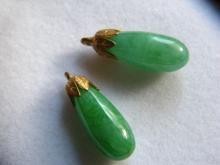 Pair of Antique Chinese Green Jadeite Water Drop 22K