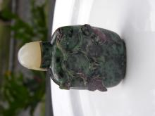 Antique Chinese Green Agate Snuff Bottle with White Jade Top