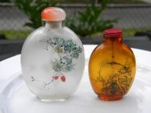 Two Antique Chinese Class Inner Painting Snuff Bottles