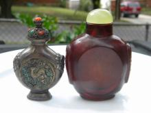 Two Antique Chinese Silver and Ruby Glass Snuff Bottles