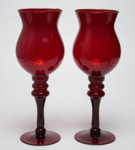 Ruby Glass Hurricane Candle Holder Lamps, Pair