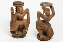 Thai Carved Wood Figural Candleholders, Pair