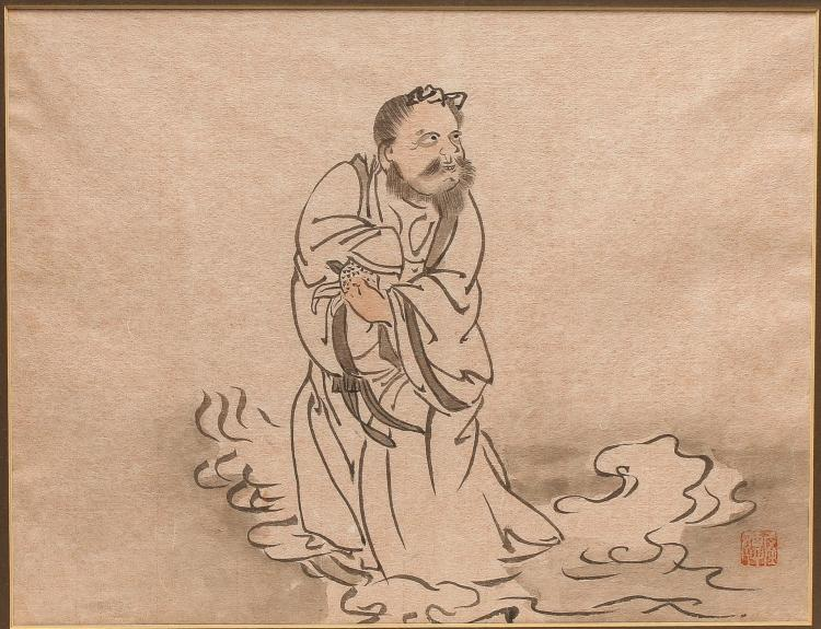 Japanese School- Ink Painting of a Lohan
