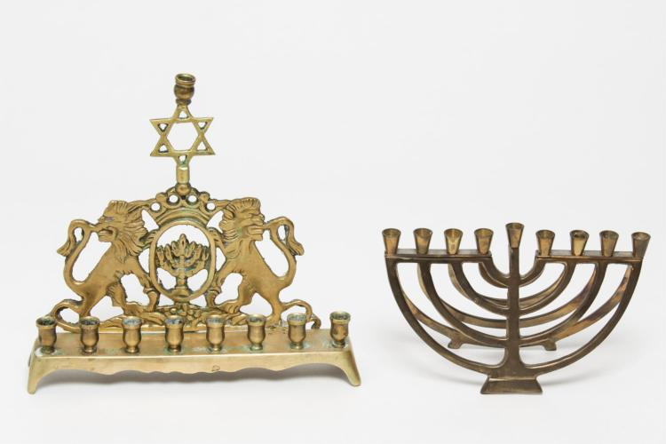 Hanukkah Judaica Menorahs, Gilt Brass w. Modernist