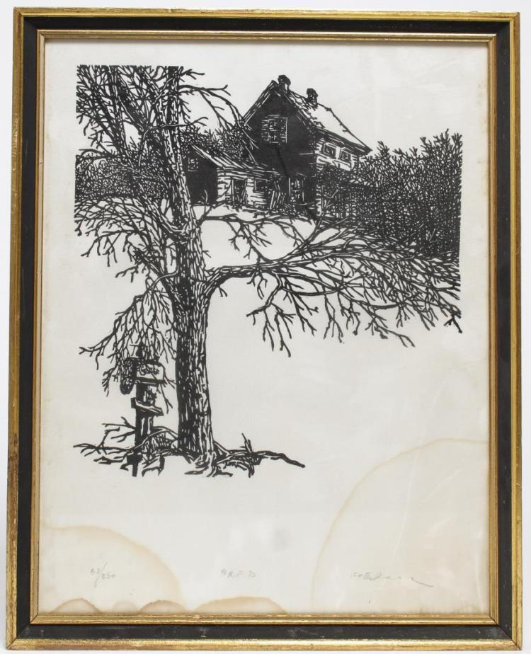 Illegibly Signed- Wood Engraving, American School