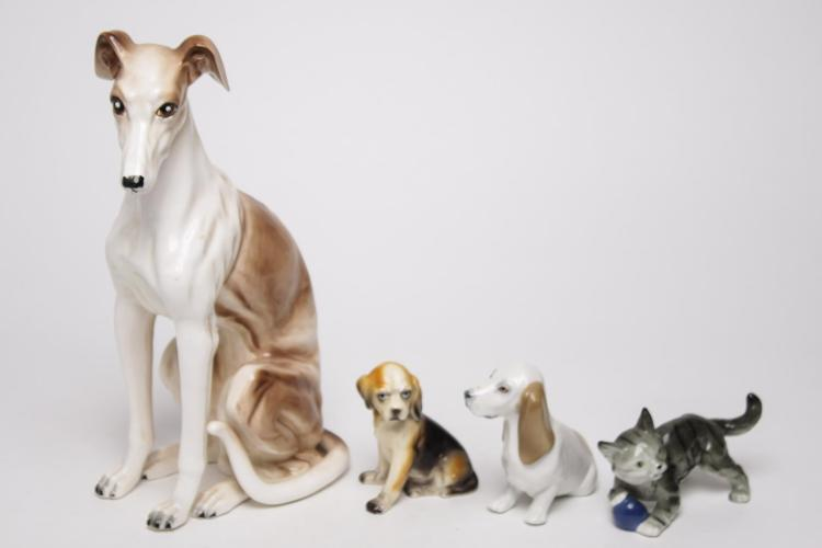 Dog & Cat Figurines, Enamel-Glazed Pottery, 4