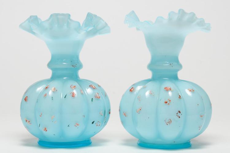 American Ruffled Art Glass Vases, Pair