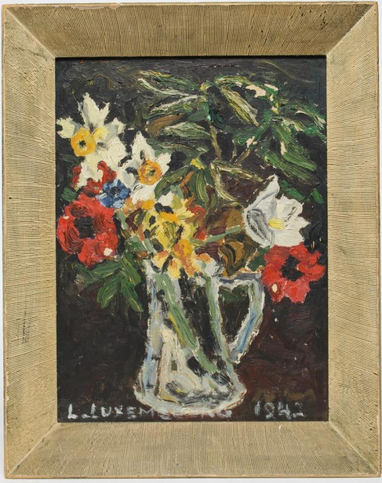 Signed L. Luxembourg, Still Life w/Poppies- Oil