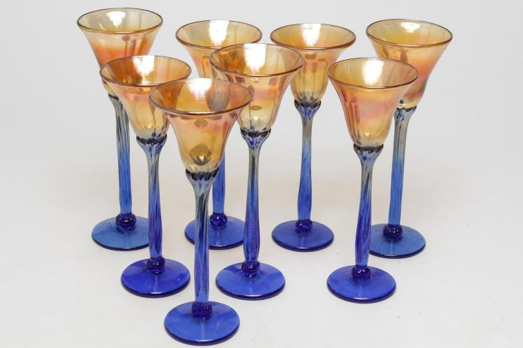 Lusterware Glass Goblets, Set of 8 in Orange-Gold
