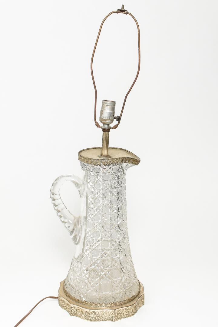 American Brilliant Cut Glass Pitcher Lamp