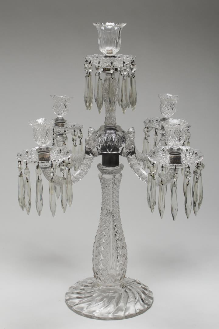 Cut Glass Prism Candelabrum, 5-Light