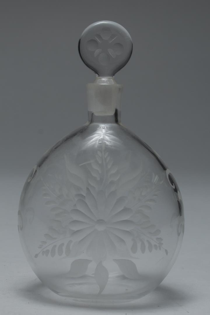Antique Murano Glass Perfume Flask, Hand-Engraved