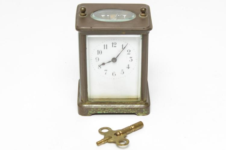 H & H French Brass Carriage Clock, 19th C.