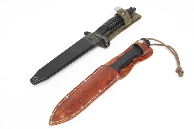 Spear Point Bayonet & Hunting Knife in Scabbards