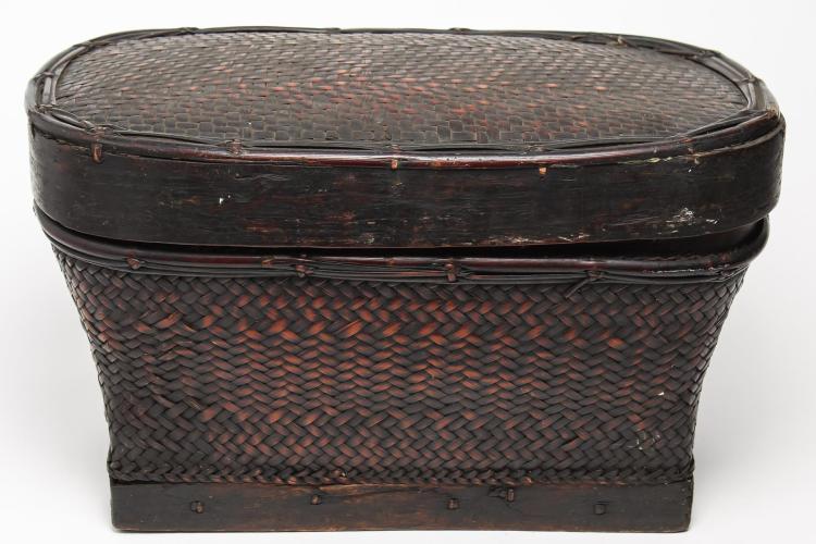 Antique Filipino Lacquered Bamboo Storage Basket