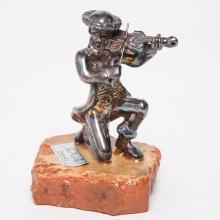 Judaica Silver-Clad Fiddler or Violinist Figurine