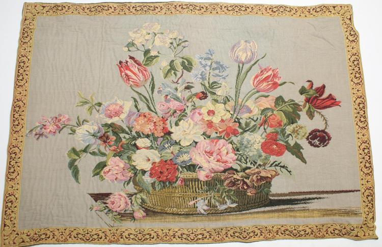 Aubusson-Type Floral Tapestry, Small & Vintage
