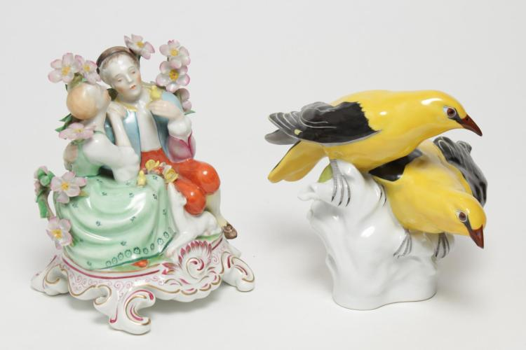 Herend Hungary Porcelain Figurines, 2 Vintage