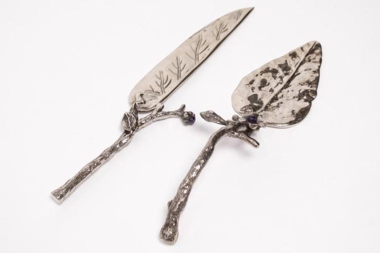 Michael Arams Cake Knife & Server, Naturalist Form