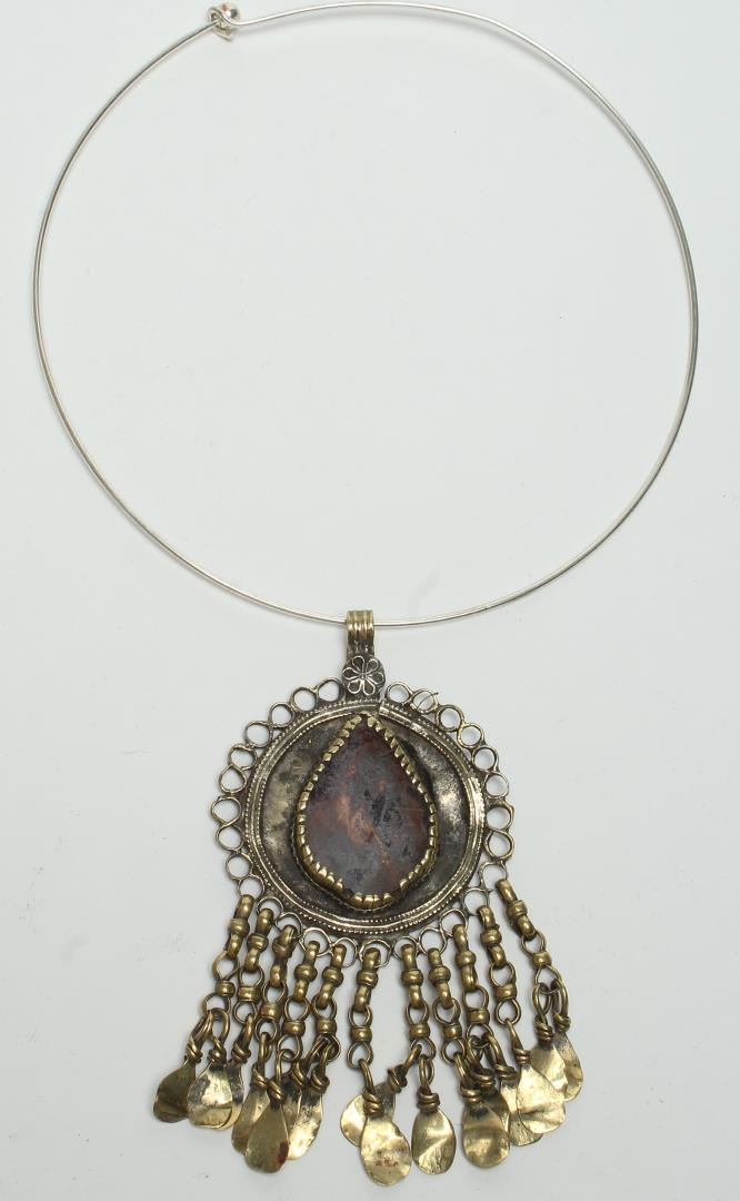 Tribal Brass & Faux-Gem Fringed Pendant
