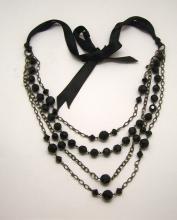 silver tone black crystal bead necklace