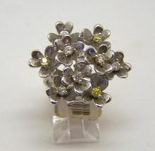 sterling silver Cz floral ring