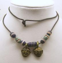 vintage african trade beads brass mask necklace