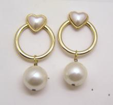 vintage huge gold tone faux pearl earrings