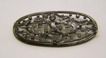 Art Deco silver plated cherub brooch pin