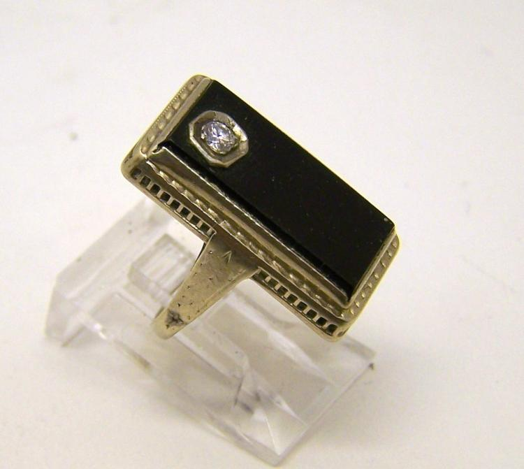 Art Deco 14k white gold onyx diamond ring,