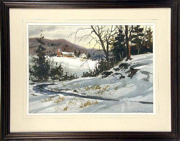 A LARGE WATERCOLOR ON PAPER OF A FARMSTEAD WITH GREAT RED BARN IN A WINTER SETTING