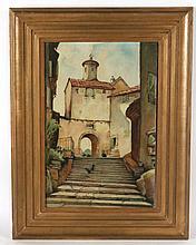 Oil on Masonite, European Street Scene