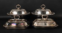 Two Pair of Silver On Copper Vegetable Dishes
