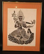 Woodcut on Rice Paper of Thai Deity