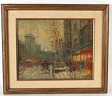 Oil on Canvas, European Street Scene