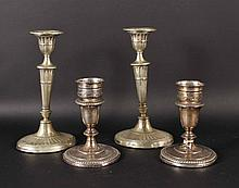Two Pair of Weighted Sterling Silver Candlesticks