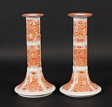 Pair of Orange Fitzhugh Porcelain Candlesticks