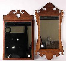 Chippendale Figure Maple Mirror