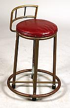 Brass and Red Leather Bistro Stool