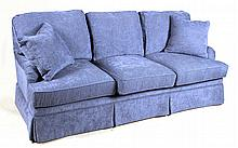 Contemporary Blue-Upholstered Sofa