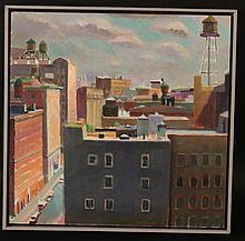 Oil on Board, West Side Looking East, W.D. Barnes