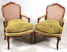 Pair of Louis XV Style Mahogany Fauteuils