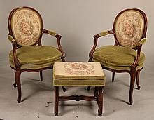 Pair of Louis XV Style Fauteuil and Ottoman