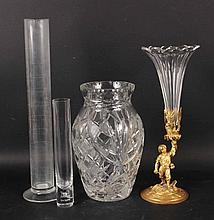 Neoclassical Style Metal and Glass Vase