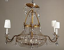 Neoclassical Style Gilt-Metal & Crystal Chandlier