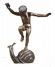 Patinated Metal Sculpture of a Boy on a Snail