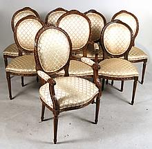 Eight Louis XVI Style Mahogany Dining Chairs