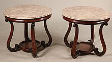 Pair of Marble Top Round Side Tables