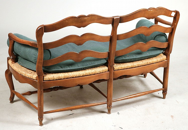 Provincial Style Maple Rush Seat Bench