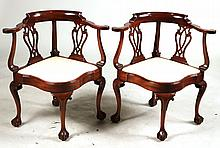 Pair of Southwood Chippendale Style Corner Chairs